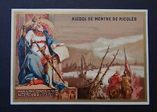 Chromo ALCOOL DE MENTHE RICQLES 1887 victorian trade card ROI KING Charlemagne