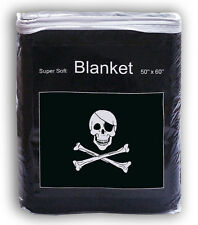 Jolly Roger Fleece Blanket *NEW* 5 ft x 4.2 ft Pirate Skull Flag Throw Cover NIB