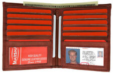 Burgundy Men's 100% LEATHER Leather Hipster Wallet Bifold Wallet 10+ Card 2 ID