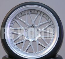 RC Car 1/10 DRIFT WHEELS TIRES Package 3MM Offset SILVER BBS Spoke Style Rims