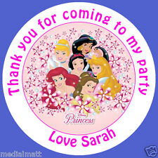 Personalised Disney Princess 37mm 35x Birthday Stickers Party Thank You for