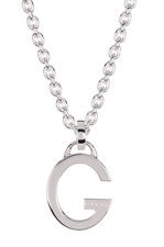 "Gucci Necklace Sterling Silver ""G"" Pendant Chain Italy NEW"