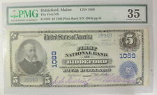 1902 $5 Us National Currency Biddeford Maine Consecutive # Pmg Certified Vf35