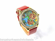 RED ANd Gold Spray Rose Flower Shiny Leather Diamante Watch Wristwatch Fashion