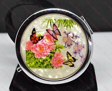 Beautiful Butterfly & Flowers Double Compact Mirror Handbag/Makeup/Pocket