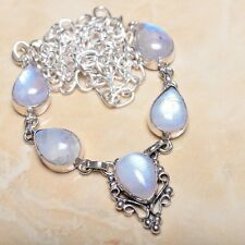 """Fire White Rainbow Moonstone Opal 925 Sterling Silver 19.5"""" Necklace #N00572"""