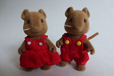 Sylvanian Families School Trip Student Pair of Hazelwood Mice Brown Mouse RARE