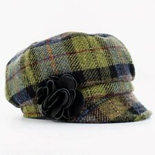 Green Plaid Ladies Newsboy Hat - Made in Ireland, One size fits all, PNB-1848