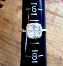 Fashion Gold Tone Sterling Silver Ring Stunning Engagement Cushion Cut CZ Size 7