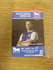 2013/2014 Fixture List: Ipswich Town - Official Fold Out Style Card (Light Creas