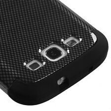 for Samsung Galaxy S3 / SIII - Black Carbon Fiber Hard & Soft Rubber Hybrid Case