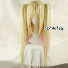 Pink Mixed Light Blonde Long Straight Lolita Women Cosplay Anime Hair Full Wig