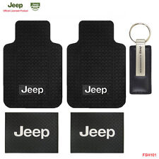 New Jeep Car Truck Front Back Classic Floor Mats & Commander Leather Keychain