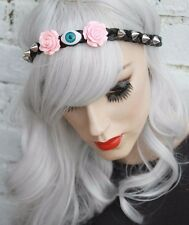 EVIL EYE SPIKE STUDDED FOREHEAD BAND HALLOWEEN GOTHIC PINK ROSE HEADBAND CROWN
