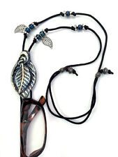 Handmade Eyeglasses or Sunglasses Holder Adjustable necklace Blue-Silver Leaf