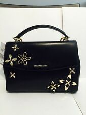 Nwt Michael Kors Ava Flowers Small Leather Satchel Bag Handbag Purse Black Gold