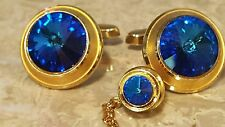 Gorgeous vintage large blue Rivoli? Crystal cufflinks and tie tack lot 80