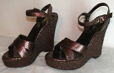 NEW Colin Stuart metallic brown Wedge sandals high heel shoes SIZE 9M sparkly