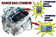 RANGE BAG Tactical Shooting Hunting ACU + 1 Double Mag Pouch + 1 Gun Cover