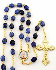 NEW MADE IN ITALY DARK BLUE PRESSED STONE GOLD PLATE SACRED HEART OF MARY ROSARY
