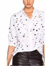 New Women's Equipment Slim Signature Silk Shirt Blouse Sheer White Star Print S