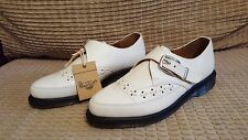 rare Dr. MARTENS size 7 white ROUSDEN oxford CREEPER loafer BUCKLE shoes