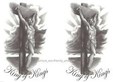 LOT 2 JESUS KING OF KINGS on the cross  Temporary Tattoo grey tones