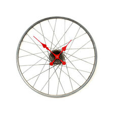 LARGE Bike Wheel Spoke Wall Clock Red Hands Silver Grey Metal NEW Indrustrial