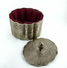 International Silver Company Jewelry Box Silver Plated Scalloped Red Velvet Oval