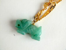 CHINESE GREEN JADE LUCKY DRAGON PENDANT NECKLACE BIRTHDAY PARTY GIFT po  B3
