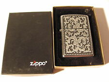 Sealed Unfired 2002 Marlboro Storming Silver Zippo Lighter Pewter Scroll Design
