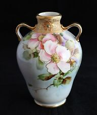 ANTIQUE NIPPON JAPAN HAND PAINTED VASE GOLD GILD  PINK FLOWERS m in wreath mark
