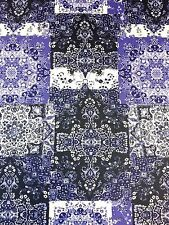 2.0M - Spun Polyester Blue Tile Persia Print Jersey Stretch Fashion Fabric [679]