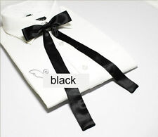 Women Girl Sailor School Pre-tied Satin Thin Bowtie Bow Neck Tie Black