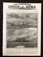 1915 Original Newspaper Front Page - German cruiser Blücher sinking, WW1