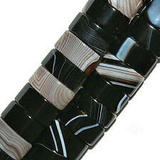 BLACK STRIPED AGATE BEADS DOUBLE 2 HOLE BEAD OVAL 6X12MM