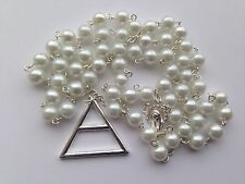 30 Seconds To Mars Triad Silver White Beads Rosary Church Jared Necklace Echelon
