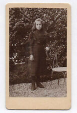 PHOTO ANCIENNE CDV Enfant Fille Jardin Chaise Tochon Lepage Paris Vers 1880