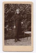 PHOTO ANCIENNE CDV Enfant Fille Jardin Chaise Tochon Lepage Paris Vers 1880