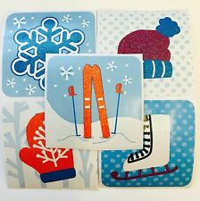 15 Winter Holiday Icon Glitter  Stickers Party Favors Teacher Supply Snowflake