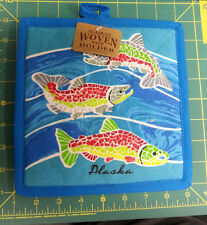 Alaska Theme Decorative Pot Holder   - Mosaic Salmon Hot Pad - New