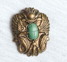 Vintage Egyptian Revival Scarab Brooch Pin Jewelry Birds Fighting  (ab093)