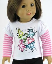 "Colorful Horse 2fer Long Sleeve T Shirt Made for American Girl 18"" Doll Clothes"
