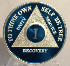 Blue & Silver Plated One Year AA Chip Alcoholics Anonymous Medallion Coin 1