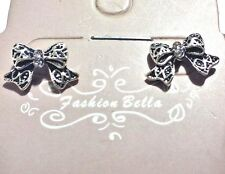 EARRINGS, SPARKLING BOWS, 15 x 9 mm W CLEAR TINY STONE, METAL ALLOY, POST STYLE