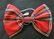 Red Tartan Bow Tie On Elastic Fancy Dress Scottish Plaid