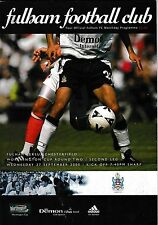 Football Programme>FULHAM v CHESTERFIELD Sept 2000 Worthington Cup