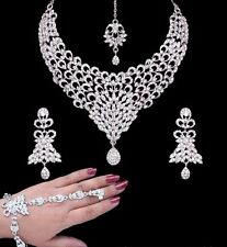 Ethnic Belly Dance Bollywood Peacock Bib 5pc Silver Crystal Bridal Jewellery Set