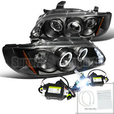 For 2000-2003 Sentra Halo Led Projector Headlights Lamps Black+6000K HID