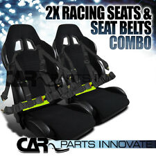 2X JDM BLACK CLOTH PVC LEATHER RECLINABLE RACING BUCKET SEATS+SEAT BELT HARNESS